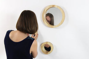 Wall mirror set of 3 mirrors Wood mirror Round mirror Wall mirror