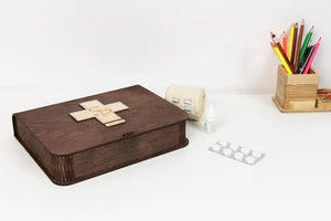 Wooden Pill Box, Your Home Pill Organizer, First Aid Kit, Pill Box Storage, Housewarming gift for parents / neighbours / friends