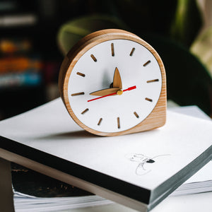 White  Wooden Desk Clock, Desk clock gift, Desk decor,  Desk clock wood, Oak wood clock