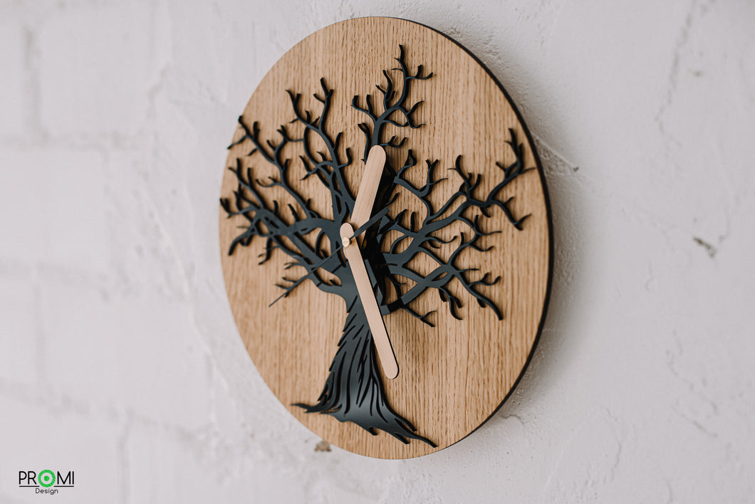 Oak tree wall clock, Modern design clock, Style your home, Nature design wall clock, Acrylic tree carving