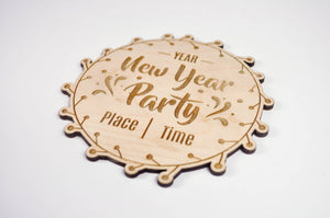 Wood Invitation, Rustic Invitation, Birthday Invitation, Laser Cut Wedding Invitation