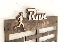 Load image into Gallery viewer, Running Medal Holder - Running - Medal Display -Medal Holder -Sports Gift - Wood Medal Hanger