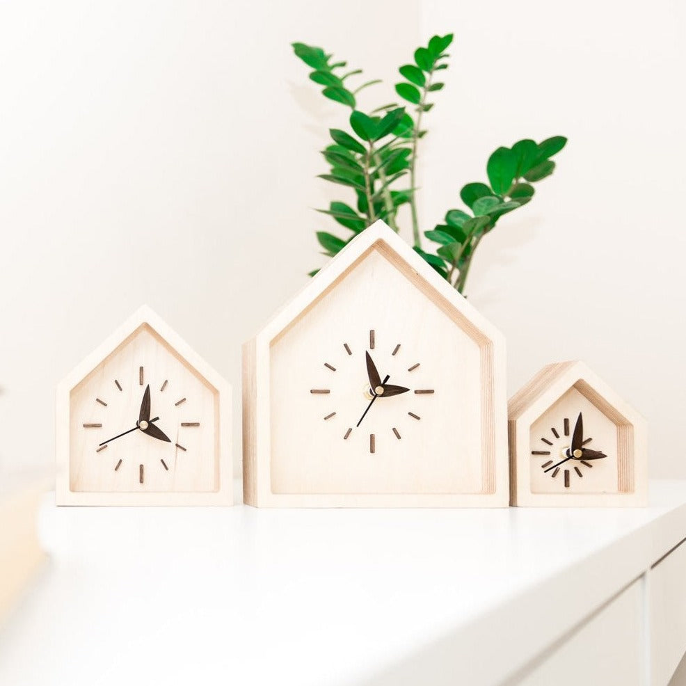 Desk Clocks - Set of 3 Clocks - Modern Clocks - Table Clocks - Wood Clocks - Wood Clock Gift
