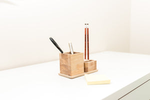 Small desk organizer - 2 pieces table organizer - Wooden desk organization -  Desk storage