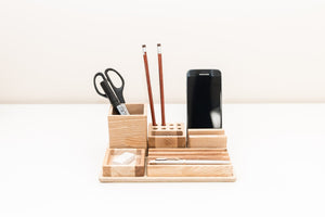 Wooden desk organizer - Big table organizer - Wooden office organizer - Table organization - Complete desk storage - Male gift
