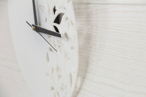White wall clock - Floral wall clock - Organic glass clock - Living room clock - House wall decor