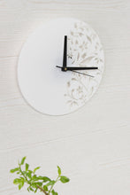 Load image into Gallery viewer, White wall clock - Floral wall clock - Organic glass clock - Living room clock - House wall decor