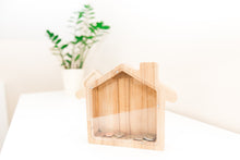 Load image into Gallery viewer, House money bank  - BIG house money box - Wooden money box  - Glass piggy box