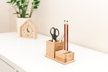 Load image into Gallery viewer, Small desk organizer - 2 pieces table organizer - Wooden desk organization -  Desk storage