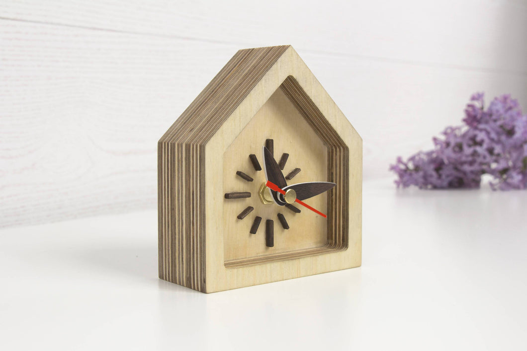 Desk Clock, Wood Clock, Silent Clock, Small Desk Clock, Bedroom Clock