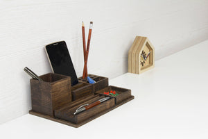 Dark wood desk organizer set, Phone stand, Practical gift idea, Back to school gift idea, Organize your office desk