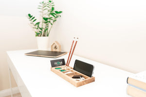 Pencil holder - Desk organizer wood - Pen holder - Phone holder - iPhone stand holder - Home desk accessory - Desk gift for her