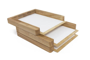 Wooden paper tray - 3 stages - Wooden paper holder - Stacked paper tray - Desk organization - Stacking paper storage - Wooden file sorter