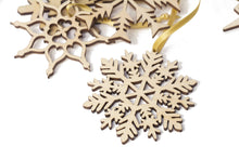 Load image into Gallery viewer, Christmas Decor, Christmas Ornaments, Christmas Decoration, Christmas Snowflakes, Wooden Ornaments, Snowflakes, Christmas Gift, Set of 20