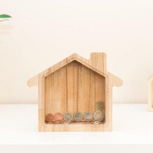 House money bank  - BIG house money box - Wooden money box  - Glass piggy box