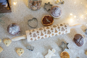 Christmas Cookies Rolling Pin, Cookie Stamp, Engraved Rolling Pin, Wooden Rolling Pin