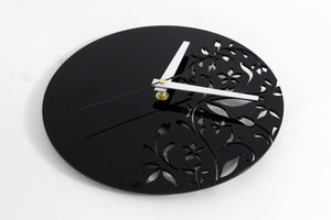 Black Wall Clock - Flower Wall Clock - Living Room Wall Clock - Acrylic Glass Wall Clock