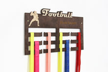 Load image into Gallery viewer, Football, Medal Hanger, Football Gifts, Medal Display, Medal Rack, Medal Holder, Kids Wall Art