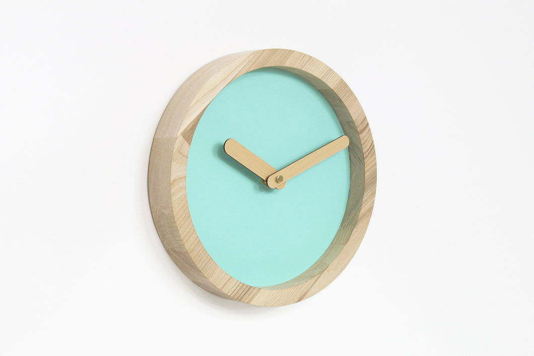 Wood Clock, Wooden Clock, Rustic Wall Decor, Wall Clock, Round Clock, Green Clock, Wall Clock Wood, Minimalist Clock, Minimalist Decor