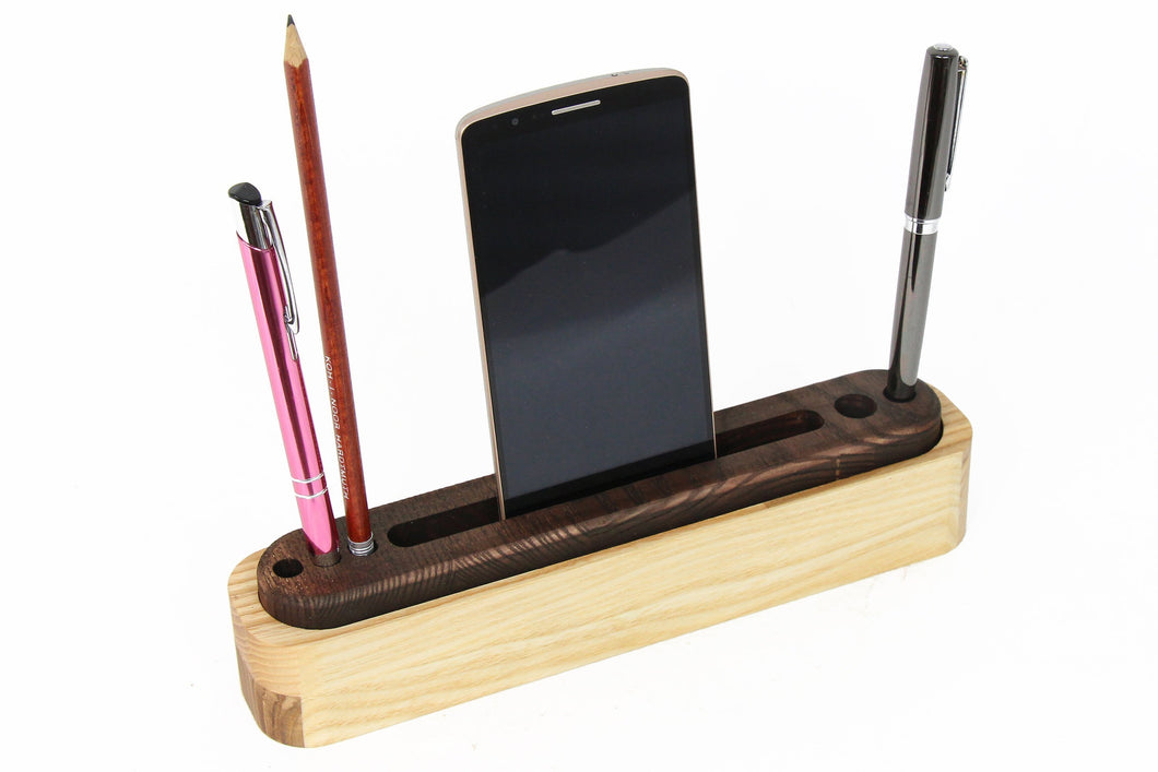 Desk Accessories, Desk Organizer, Office Desk Accessories, Boyfriend Christmas Gift, Husband Gift, Small Desk, Wood Desk Organizer