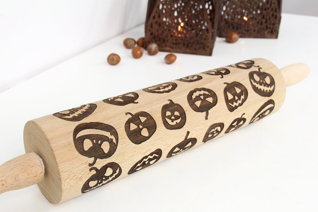 Halloween Cookies Rolling Pin, Halloween Decorations,Engraved Rolling Pin, Pumpkin Decor