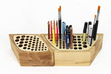 Load image into Gallery viewer, Desk Organizers, Wood Desk Organizer, Make Up Brush Holder,  Pen Holder Wood