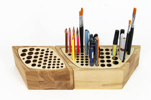 Desk Organizers, Wood Desk Organizer, Make Up Brush Holder,  Pen Holder Wood
