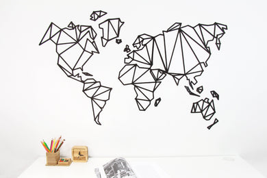 Wooden World Map, Large World Map, Origami Decoration, Rustic Office Decor, Modern World Map