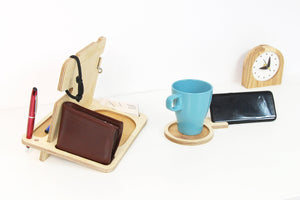 Wood Desk Organizer, Wood Phone Stand, Wooden Docking Station, Boyfriend Birthday Gift