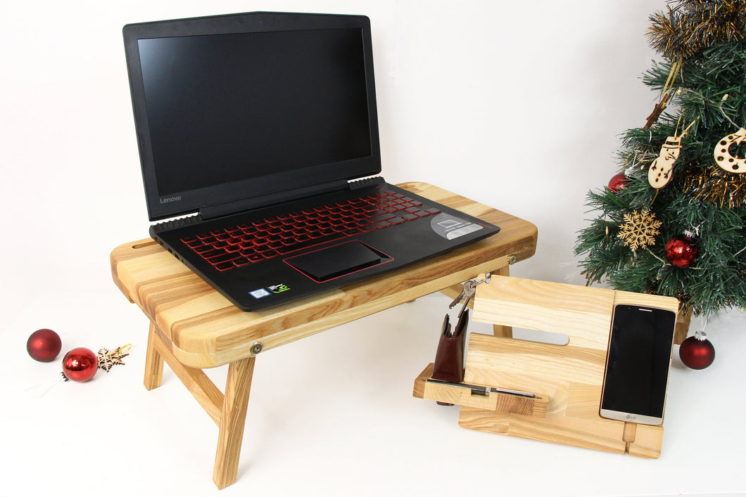 Christmas Gift for Husband, Wood Docking Station, Lap Desk, Boyfriend Christmas Gift