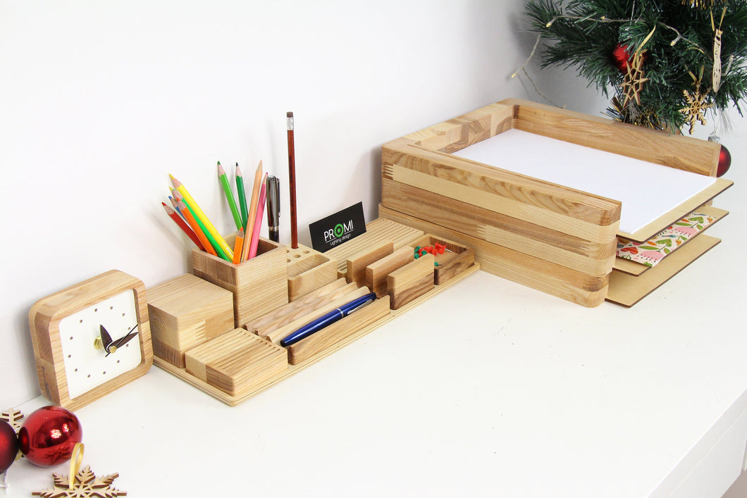 Christmas Gift Set, Wooden Desk Organizer, Husband Christmas Gift, Boyfriend Christmas Gift