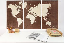 Load image into Gallery viewer, Wood World Map, Wooden World Map, Rustic Office Decor, Wooden World Map Wall Art