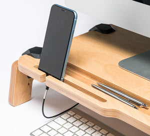 Lifty monitor stand USB ports desktop work surface promidesign keybord waterproof connectors playwood wooden connections organiser