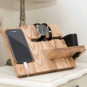man dock station wood organizer