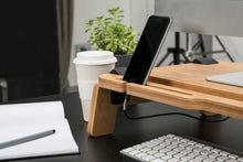 Load image into Gallery viewer, Lifty monitor stand USB ports desktop work surface promidesign keybord waterproof connectors playwood wooden connections organiser
