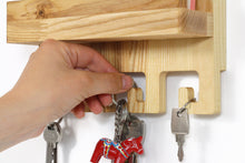 Load image into Gallery viewer, Mail and key holder, Entryway organizer, Wood key holder, Wooden key holder, Mail holder