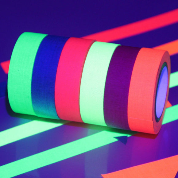 6pcs/Set Fluorescent Tape UV Blacklight Reactive Glow in The Dark Tape Neon Gaffer Tape Safety Warning (Six Colors Mixed)