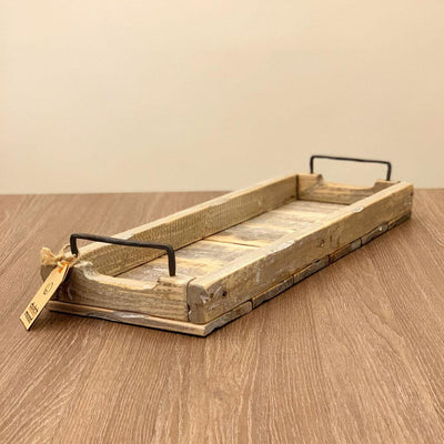 Long Rustic Wood Tray