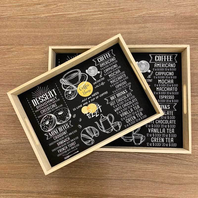 Black Menu Tray – Set of 2