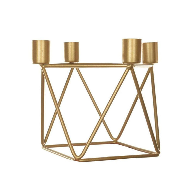 Metal Gold Candle Holder + 4 Candles