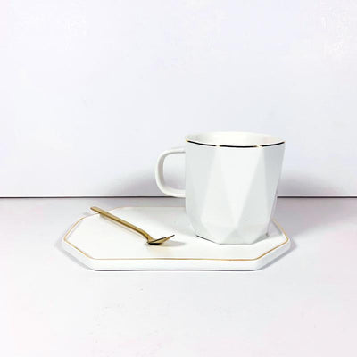 Geometric Mug w/ Spoon and Plate