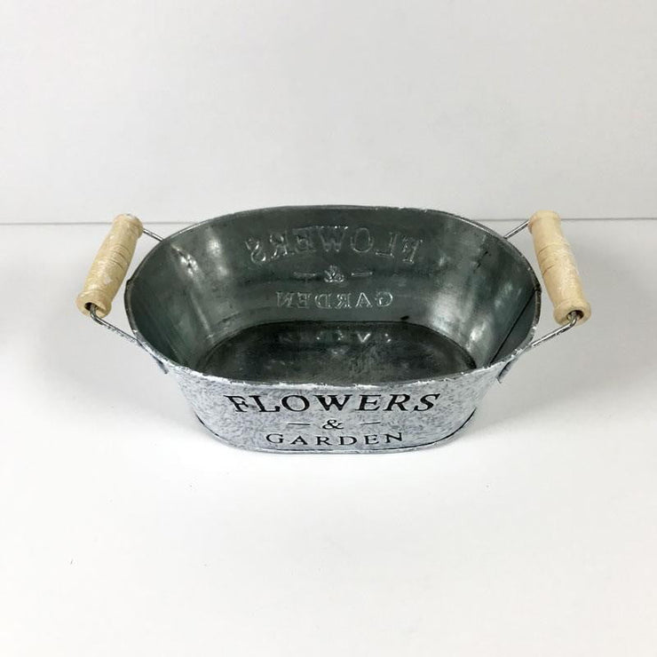 Small Tin Flower Pot Oval