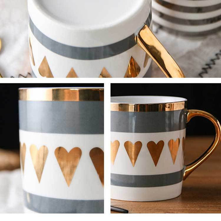 Love Heart Stripe Golden Mug