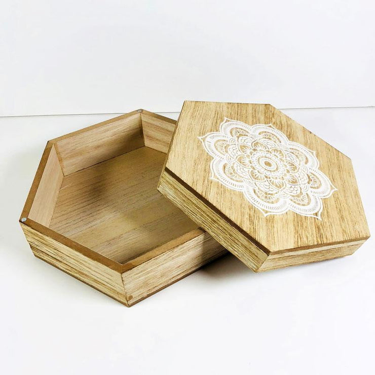 Hexagon Wood Box Mandala