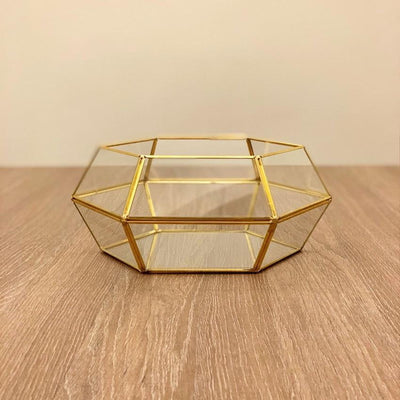 Hexagon Gold Metal Vase
