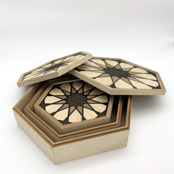 Arabesque Hexagon Wood Boxes