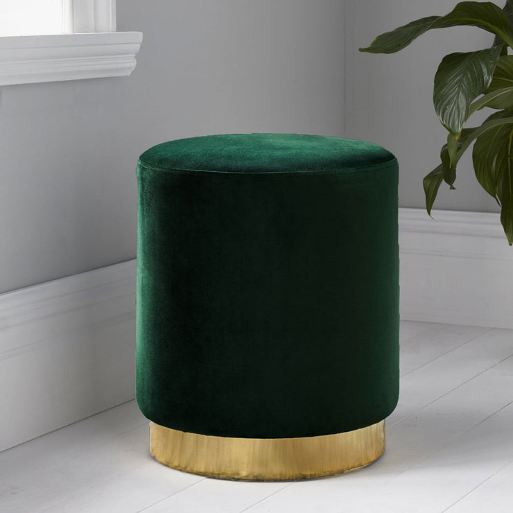 Round Velvet Stool with Gold Finish