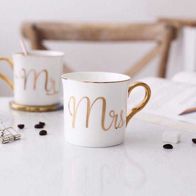 Mr & Mrs Mugs - White Gold