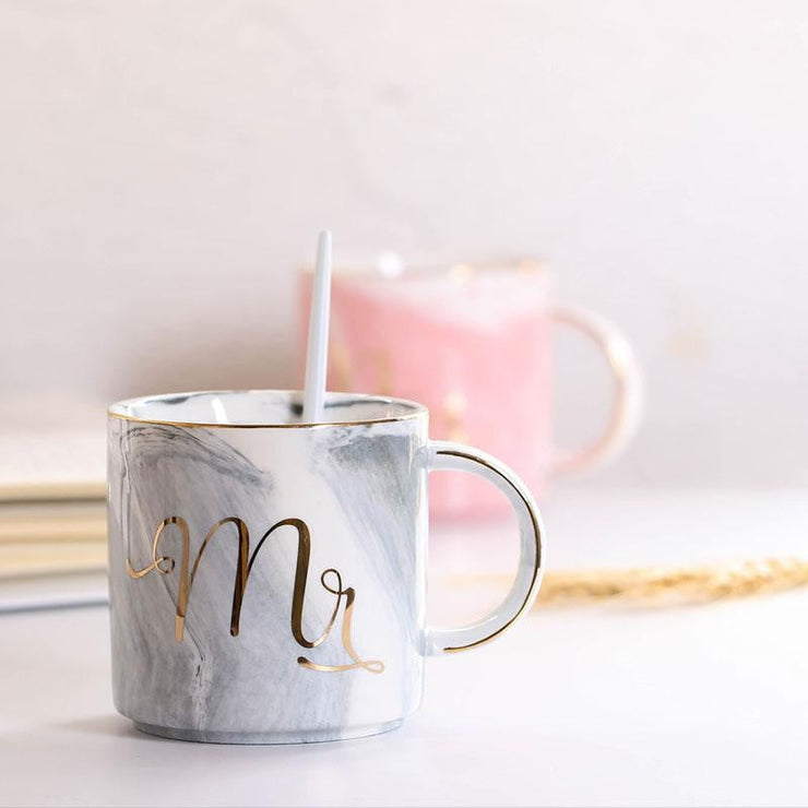 Mr & Mrs Mugs Marble Design