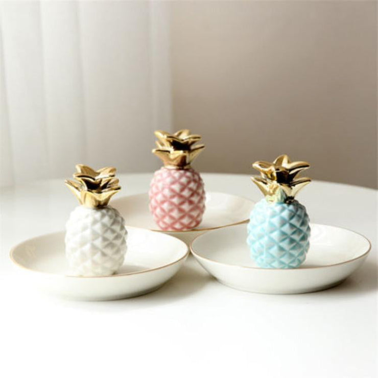 Ceramic Pineapple Rings Earrings Holder Jewelry